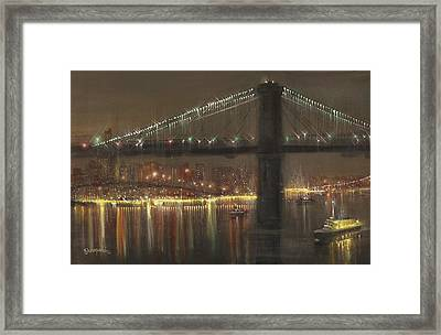Brooklyn Bridge Cruciform Framed Print by Tom Shropshire