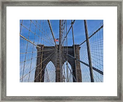 Framed Print featuring the photograph Brooklyn Bridge by David Gleeson