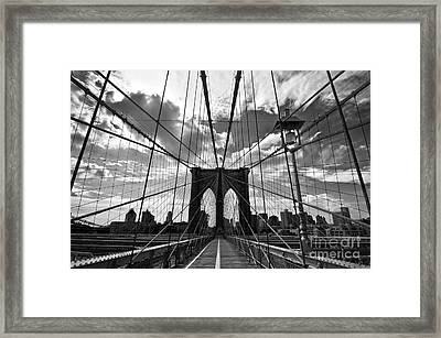 Brooklyn Bridge Framed Print by Delphimages Photo Creations