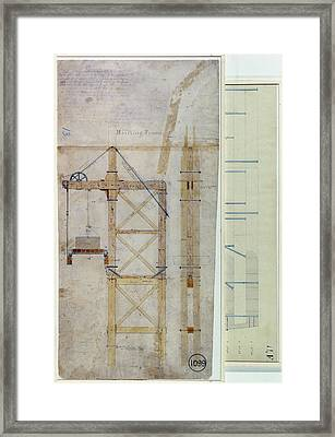 Brooklyn Bridge: Diagram Framed Print by Granger