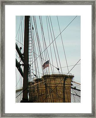 Brooklyn Bridge Flag Framed Print by Mieczyslaw Rudek