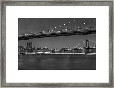 Brooklyn Bridge Frames Manhattan Bw Framed Print by Susan Candelario