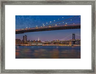 Brooklyn Bridge Frames Manhattan Framed Print by Susan Candelario