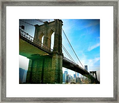 Brooklyn Bridge Glow Framed Print by Frank Winters