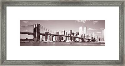 Brooklyn Bridge, Hudson River, Nyc, New Framed Print by Panoramic Images