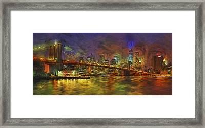 Brooklyn Bridge Impressionism Framed Print by Susan Candelario