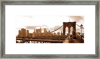 Brooklyn Bridge In Sepia Framed Print by Paul Van Baardwijk
