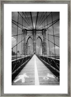 Framed Print featuring the photograph Brooklyn Bridge Infrared by Dave Beckerman