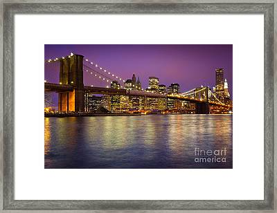 Brooklyn Bridge Framed Print by Inge Johnsson