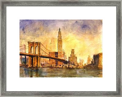 Brooklyn Bridge New York Framed Print