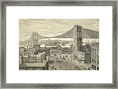 Brooklyn Bridge, New York, United States Of America In The 19th Century Framed Print by American School