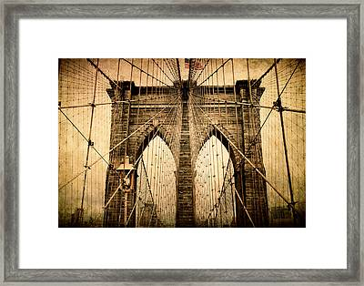 Brooklyn Bridge Nostalgia Framed Print by Jessica Jenney
