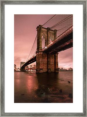 Brooklyn Bridge - Red Morning Framed Print by Gary Heller