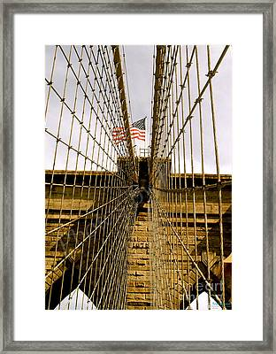 Framed Print featuring the photograph Brooklyn Bridge by Roseann Errigo