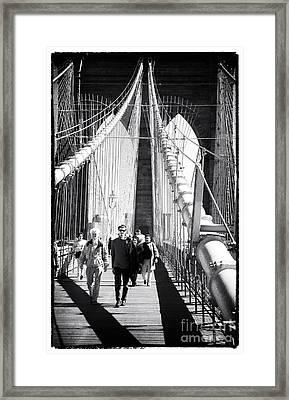 Brooklyn Bridge Shadows 1990s Framed Print