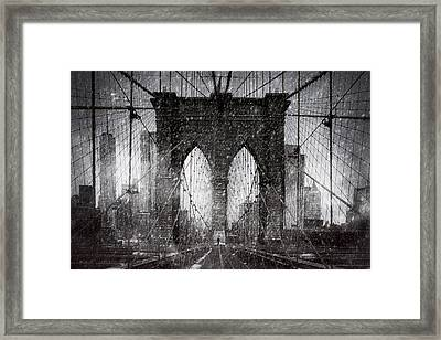 Brooklyn Bridge Snow Day Framed Print