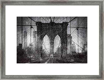 Brooklyn Bridge Snow Day Framed Print by Chris Lord