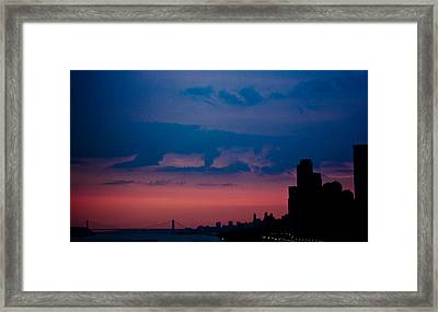 Brooklyn Bridge Sunrise Framed Print by Sara Frank