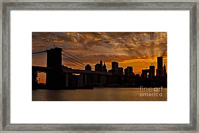Brooklyn Bridge Sunset Framed Print by Susan Candelario