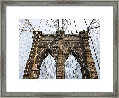 Brooklyn Bridge Tower Framed Print by Frank Winters