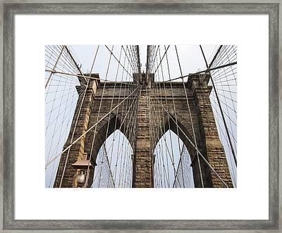 Brooklyn Bridge Tower Framed Print by Frank Winters