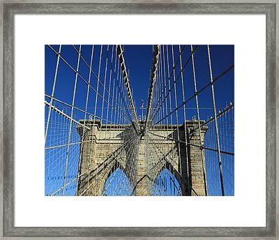 Framed Print featuring the photograph Brooklyn Bridge Tower by Jose Oquendo