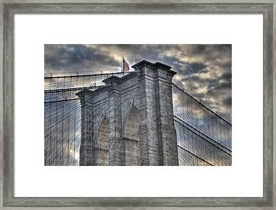 Brooklyn Bridge Tower Framed Print