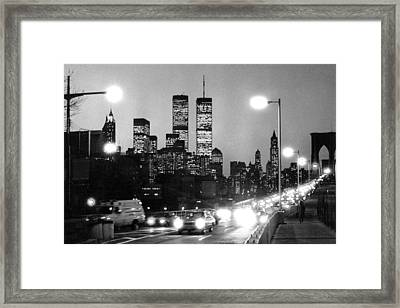 Brooklyn Bridge Traffic II Dusk 1980s Framed Print