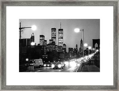 Brooklyn Bridge Traffic II Dusk 1980s Framed Print by Gary Eason