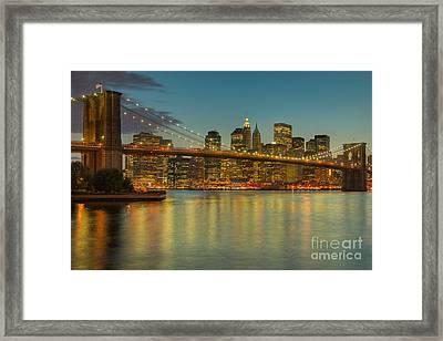 Brooklyn Bridge Twilight Framed Print by Clarence Holmes
