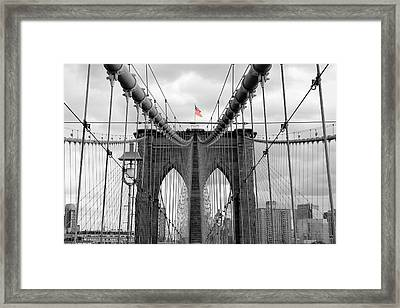 Brooklyn Bridge With American Flag Framed Print