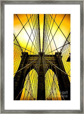 Brooklyn Bridge Yellow Framed Print by Az Jackson