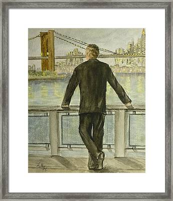 Framed Print featuring the painting Brooklyn Bridges Finest New York by Kelly Mills
