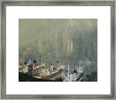 Brooklyn Harbor Circa 1921  Framed Print by Aged Pixel