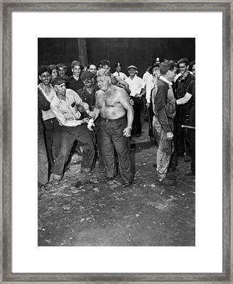 Brooklyn Shipyard Strike Framed Print by Underwood Archives