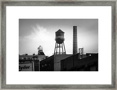Brooklyn Water Tower And Smokestack - Black And White Industrial Chic Framed Print