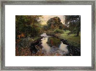 Framed Print featuring the photograph Brookside Bench by Robin-Lee Vieira