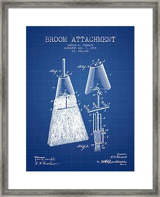 Broom Attachment Patent From 1905 - Blueprint Framed Print by Aged Pixel