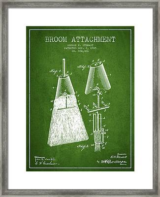 Broom Attachment Patent From 1905 - Green Framed Print by Aged Pixel
