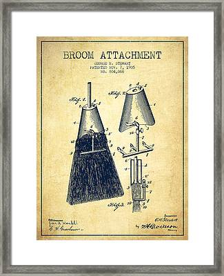 Broom Attachment Patent From 1905 - Vintage Framed Print by Aged Pixel