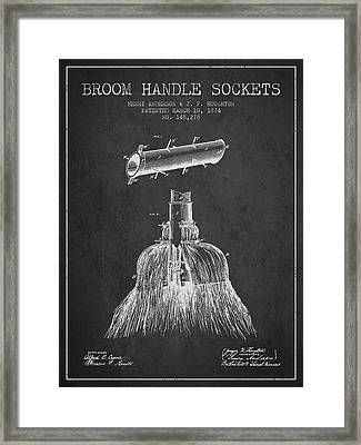Broom Handle Sockets Patent From 1874 - Charcoal Framed Print by Aged Pixel
