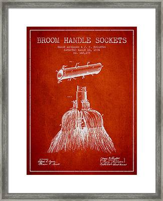 Broom Handle Sockets Patent From 1874 - Red Framed Print by Aged Pixel