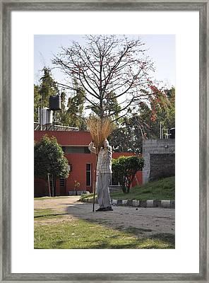 Broom Man Framed Print by Bliss Of Art
