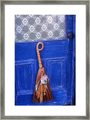 Framed Print featuring the photograph Broom On Blue Door by Rodney Lee Williams
