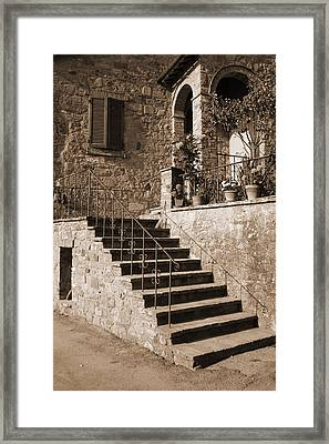 Broom On The Stairs Framed Print
