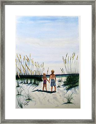 Framed Print featuring the painting Brother Sister On Beach Sold by Richard Benson