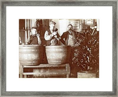 Brouwer And Attendants Cleaning Bottles At A Bottle Drying Framed Print by Artokoloro