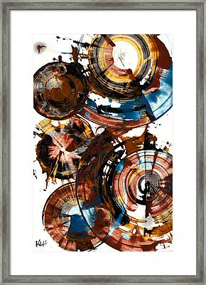 Framed Print featuring the painting Brown And Blue Spherical Joy - 992.042212 by Kris Haas