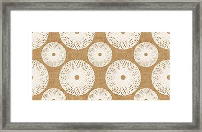 Brown And White Floral Framed Print