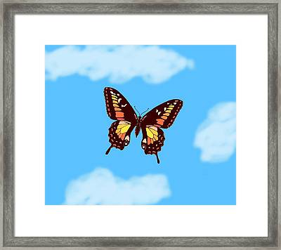 Brown Butterfly Skyscape Framed Print by L Brown